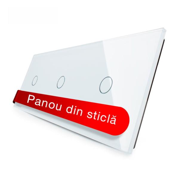Panou intrerupator simplu + simplu + simplu cu touch, din sticla, Livolo 6