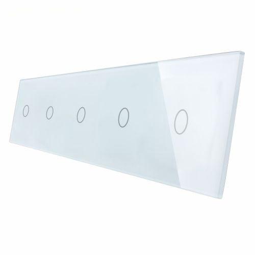 Panou 5 intrerupatoare, simplu + simplu + simplu +simplu + simplu cu touch, din sticla, Livolo 2