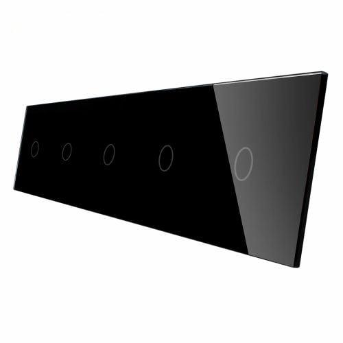 Panou 5 intrerupatoare, simplu + simplu + simplu +simplu + simplu cu touch, din sticla, Livolo 1