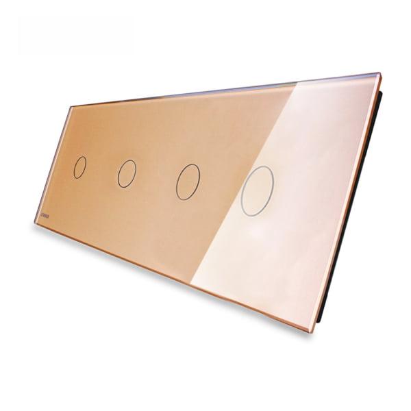 Panou 4 intrerupatoare, simplu + simplu + simplu +simplu cu touch, din sticla, Livolo 1