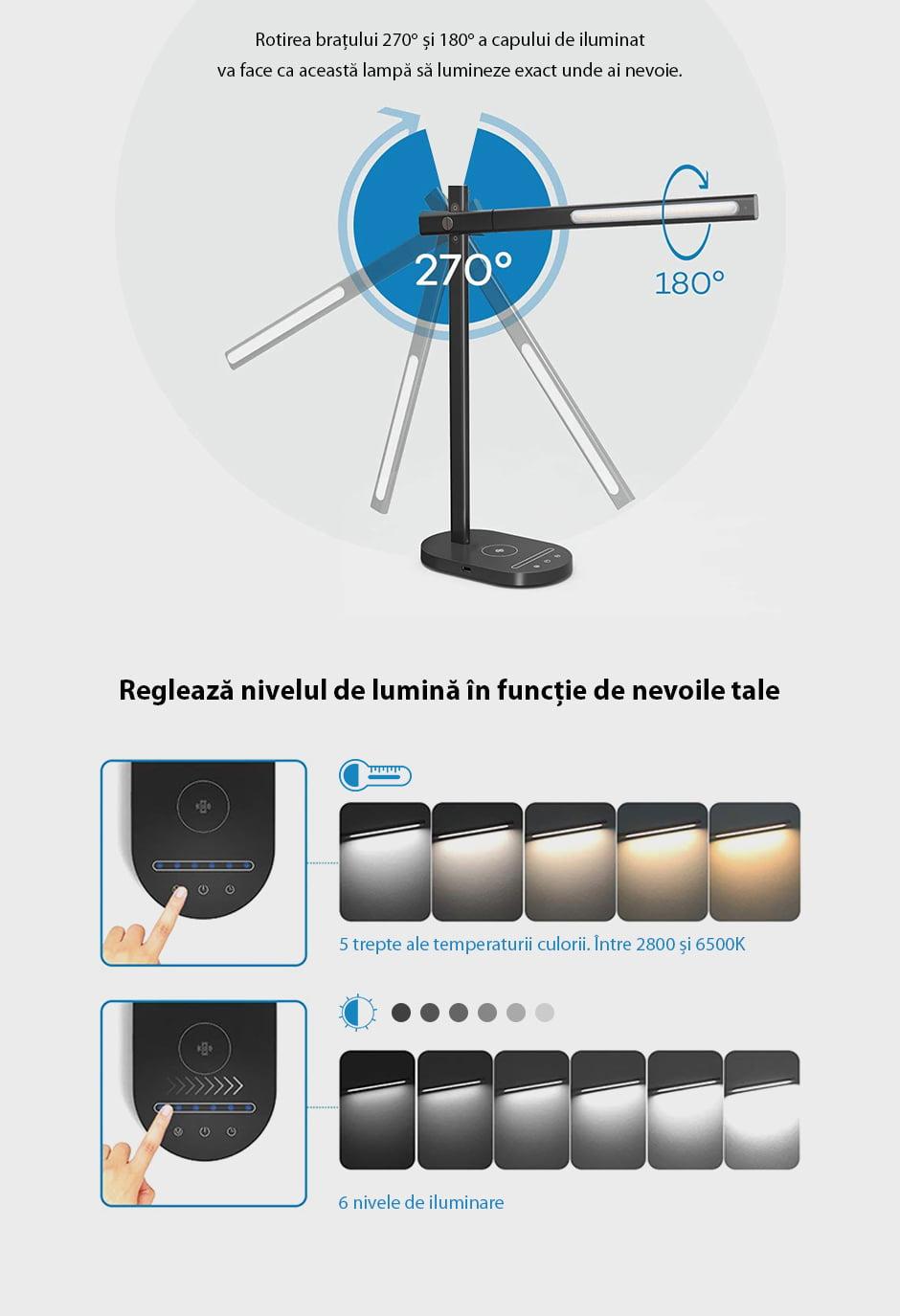 Lampa de birou cu incarcare wireless QI pentru telefonul mobil RS-LTL-508W 14