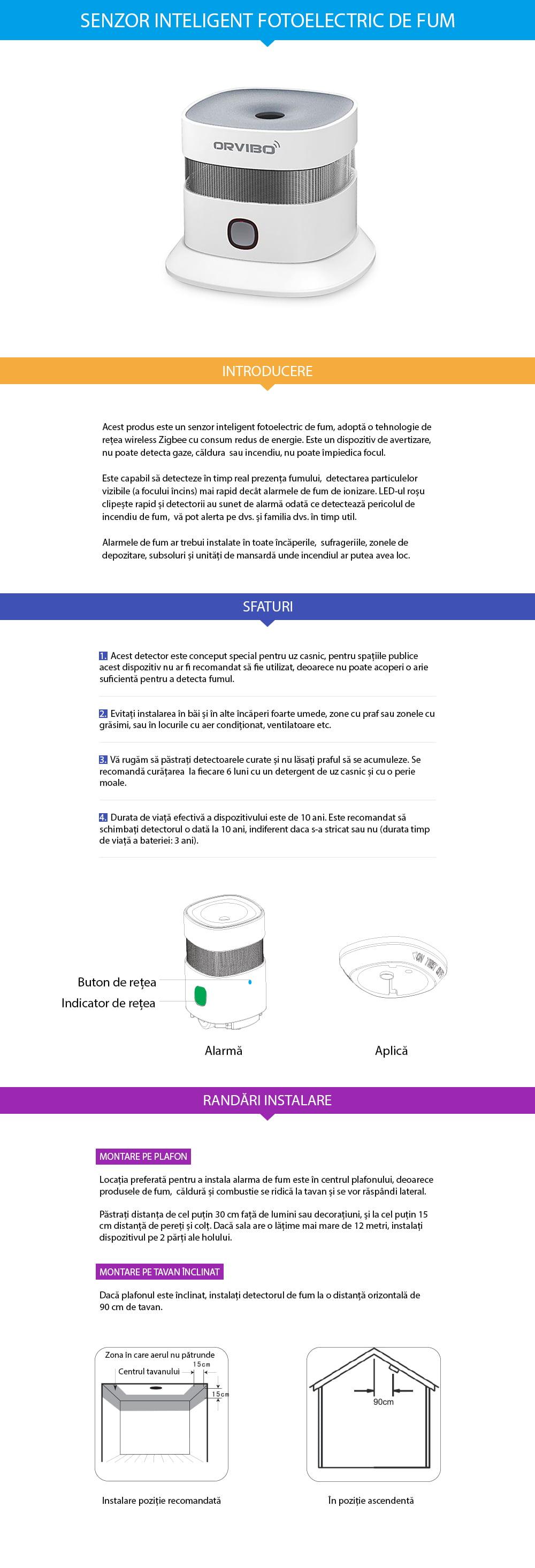 Senzor inteligent de fum ORVIBO 3