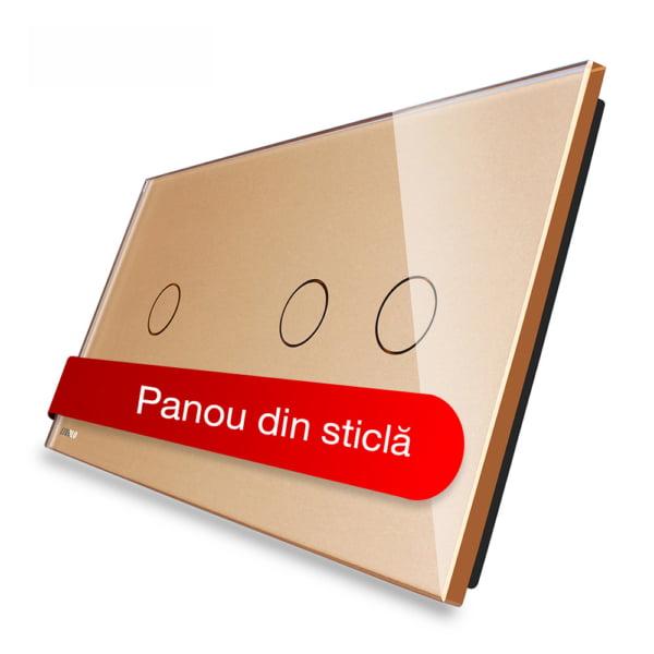 Panou intrerupator simplu + dublu cu touch, din sticla, Livolo 5