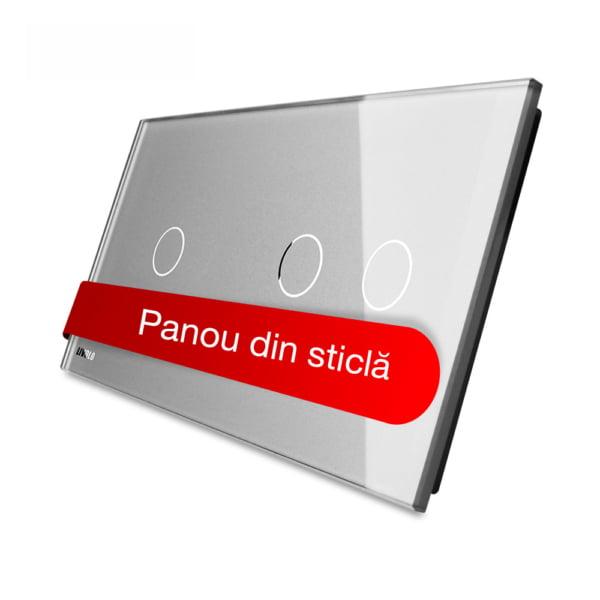 Panou intrerupator simplu + dublu cu touch, din sticla, Livolo 7