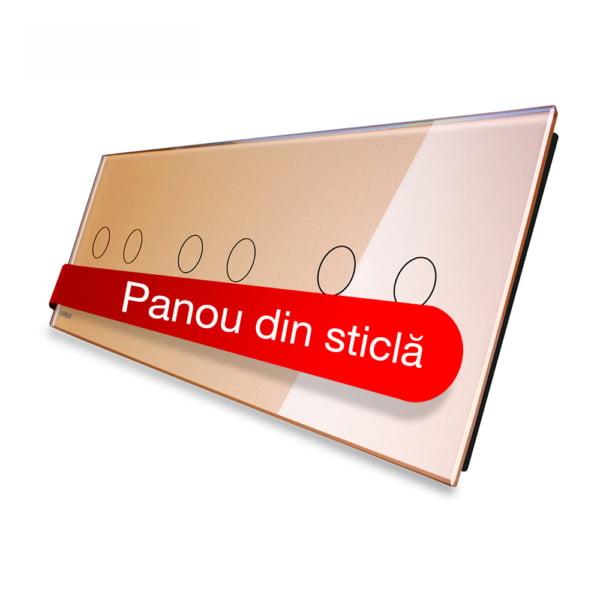 Panou intrerupator dublu + dublu + dublu cu touch, din sticla, Livolo 4