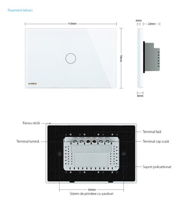 Intrerupator cu touch wireless RF, standard italian, panou de sticla, Livolo 9