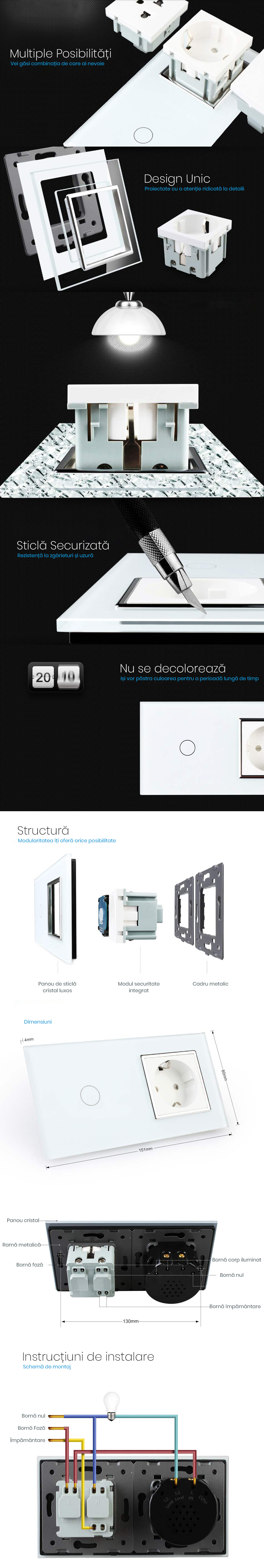 Priza Schuko + Intrerupator cu touch simplu, rama de sticla, Livolo 19