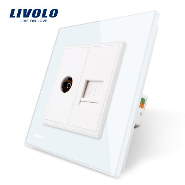 Priza TV + Internet RJ45, cu rama din sticla, Livolo 4