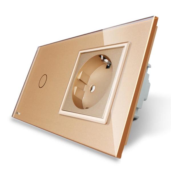 Priza Schuko + Intrerupator cu touch simplu, cap-scara/cap-cruce, rama de sticla, Livolo 7