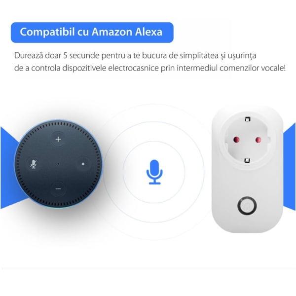 Priza inteligenta RedSun RS-SU02, monitorizare de energie, compatibil Amazon Alexa, Control de pe telefonul mobil 1