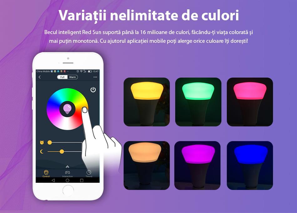 Bec inteligent LED RGB wireless Wi-Fi Red Sun, control de pe aplicatie mobila Red Sun RS-P0105-5W 9